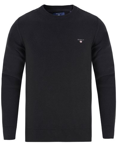 Gant Texture Cotton Crew Neck Black i gruppen Tröjor / Pullovers / Rundhalsade pullovers hos Care of Carl (13314211r)