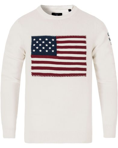 Gant American Flag Sweater Off White i gruppen Tröjor / Stickade tröjor hos Care of Carl (13314311r)
