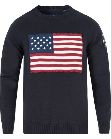 Gant American Flag Sweater Navy i gruppen Tröjor / Stickade tröjor hos Care of Carl (13314411r)