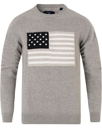 Gant American Flag Sweater Grey Melange i gruppen Gensere / Strikkede gensere hos Care of Carl (13314511r)