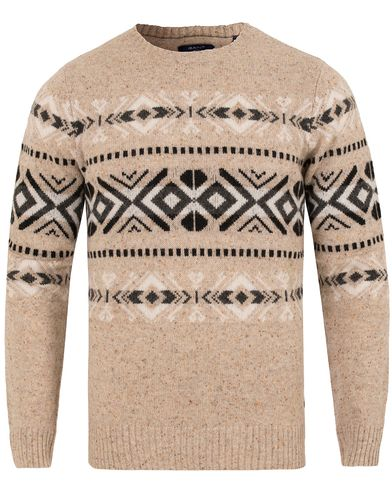 Gant Donegal Fairisle Crew Neck Dark Khaki i gruppen Gensere / Strikkede gensere hos Care of Carl (13314611r)