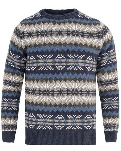 Gant Fairisle Crew Neck Indigo Blue i gruppen Tr�jor / Stickade Tr�jor hos Care of Carl (13314711r)