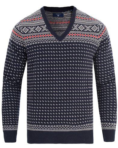 Gant Christmas Fairisle V-Neck Marine i gruppen Klær / Gensere / Pullover / Pullovers v-hals hos Care of Carl (13314811r)