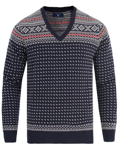 Gant Christmas Fairisle V-Neck Marine i gruppen Tröjor / Pullovers / V-ringade pullovers hos Care of Carl (13314811r)