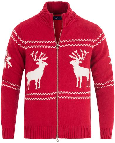 Gant Christmas Zip Jacket Thunder Red i gruppen Tr�jor / Zip-Tr�jor hos Care of Carl (13315011r)