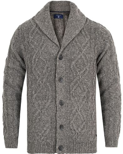 Gant Cable Cargdigan Dark Grey Melange i gruppen Klær / Gensere / Cardigans hos Care of Carl (13315111r)