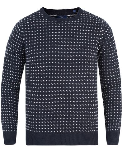 GANT All Over Jaquard Pullover Marine i gruppen Klær / Gensere / Strikkede gensere hos Care of Carl (13315211r)