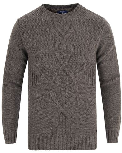 Gant Cross Cable Crew Antracite Melange i gruppen Tr�jor / Stickade Tr�jor hos Care of Carl (13315311r)