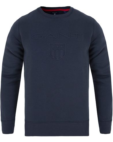 Gant Gant Embossed Crew Neck Marine i gruppen Gensere / Sweatshirts hos Care of Carl (13316111r)