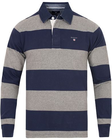Gant The Original Barstripe Rugger Dark Grey Melange i gruppen Tröjor / Rugbytröjor hos Care of Carl (13317711r)
