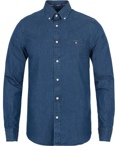Gant The Indigo Fitted Body Shirt Dark Blue  i gruppen Skjorter / Casual Skjorter hos Care of Carl (13319511r)