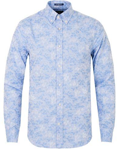 GANT Jaquard Leaf Fitted Body Shirt Capri Blue i gruppen Kläder / Skjortor / Casual skjortor hos Care of Carl (13319711r)