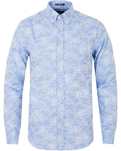 Gant Jaquard Leaf Fitted Body Shirt Capri Blue i gruppen Skjorter / Casual Skjorter hos Care of Carl (13319711r)