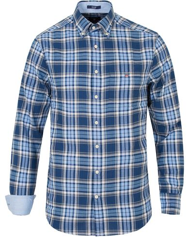 Gant Tech Prep Oxford Gingham Regular Fit Shirt Yale Blue i gruppen Design A / Skjorter / Oxfordskjorter hos Care of Carl (13320011r)