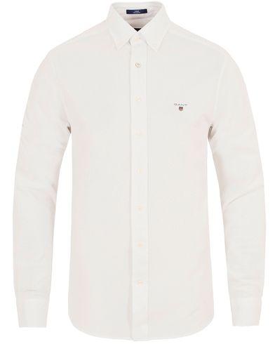 Gant Pique Solid Regular Fit Shirt White i gruppen Skjorter / Pikéskjorter hos Care of Carl (13320211r)