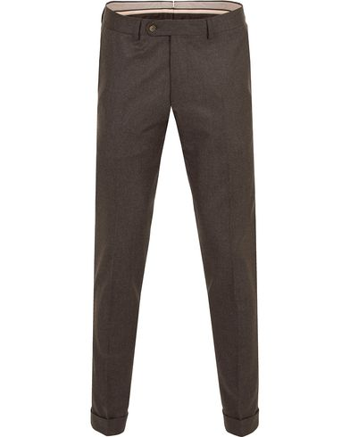 Morris Heritage Fred Light Flannel Turn Up Super 120 Trousers Brown i gruppen Kläder / Byxor / Flanellbyxor hos Care of Carl (13324211r)