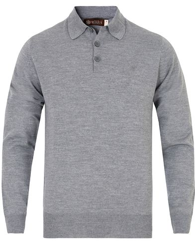Morris Heritage Knitted Polo Shirt Grey i gruppen Gensere / Pullover / Pullovere med knapper i kragen hos Care of Carl (13326011r)