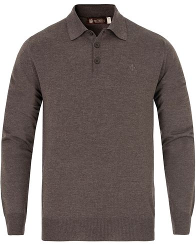 Morris Heritage Knitted Polo Shirt Brown i gruppen Tröjor / Pullovers / Pullovers med knappkrage hos Care of Carl (13326111r)