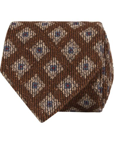 Morris Heritage Carlo Woven Medallion 8cm Tie  Brown  i gruppen Accessoarer / Slipsar hos Care of Carl (13327110)