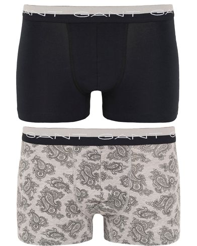 Gant 2-Pack Boxer Cotton Stretch Paisley Grey Melange/Black i gruppen Underkläder / Kalsonger hos Care of Carl (13329011r)