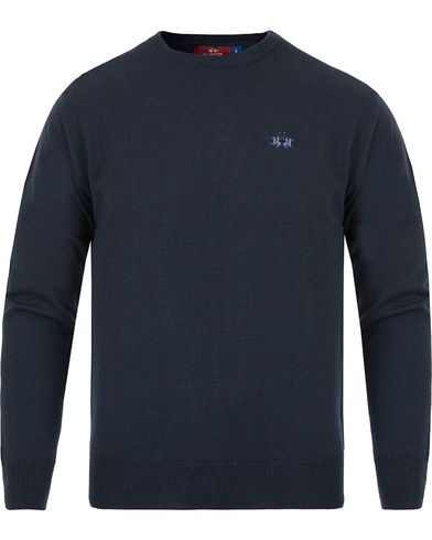 La Martina Raffael Knitted Crew Neck Navy i gruppen Gensere / Strikkede gensere hos Care of Carl (13331711r)
