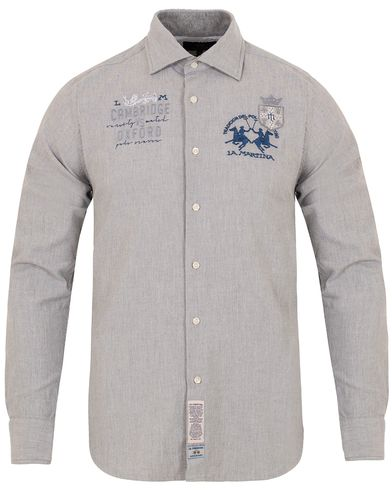 La Martina Slim Fit Stretch Oxford Shirt Grey i gruppen Skjortor / Oxfordskjortor hos Care of Carl (13332111r)