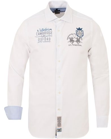 La Martina Slim Fit Stretch Oxford Shirt White i gruppen Skjortor / Oxfordskjortor hos Care of Carl (13332211r)