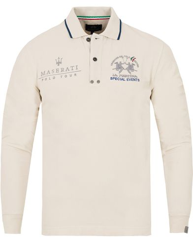 La Martina Leland Maserati Long Sleeve Pique Off White i gruppen Pikéer / Långärmade pikéer hos Care of Carl (13332811r)
