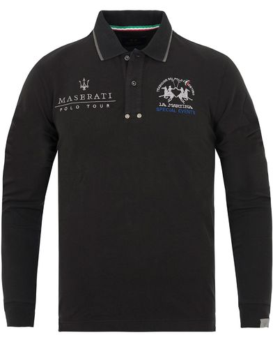 La Martina Leland Maserati Long Sleeve Pique Black i gruppen Pikéer / Långärmade pikéer hos Care of Carl (13332911r)