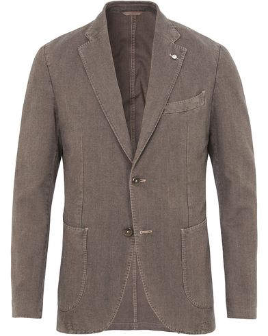 L.B.M. 1911 Jack Regular Cotton Herringbone Blazer Grey i gruppen Klær / Dressjakker / Enkeltspente dressjakker hos Care of Carl (13334511r)