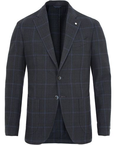 L.B.M. 1911 Jack Regular Wool/Cotton Check Blazer Navy i gruppen Kavajer / Enkelknäppta kavajer hos Care of Carl (13334611r)