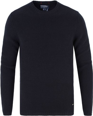 Woolrich Chunky Cotton Crew Navy i gruppen Gensere / Strikkede gensere hos Care of Carl (13338711r)