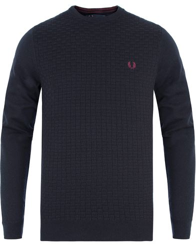 Fred Perry Oxford Texture Merino Crew Neck Navy i gruppen Gensere / Strikkede gensere hos Care of Carl (13339111r)