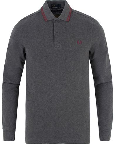 Fred Perry Long Sleeve Polo Twin Tip Graphite Marl i gruppen Pikéer / Långärmade pikéer hos Care of Carl (13339611r)