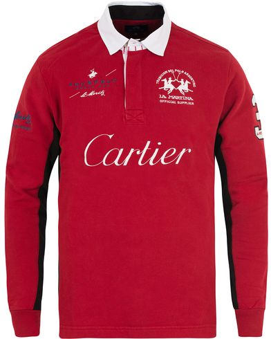 La Martina St Moritz Rugby Red i gruppen Tröjor / Rugbytröjor hos Care of Carl (13343511r)