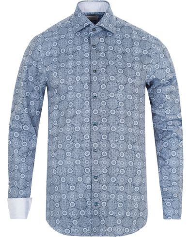 Stenstr�ms Slimline Printed Shirt Blue i gruppen Skjorter / Casual Skjorter hos Care of Carl (13344111r)