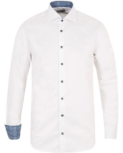 Stenströms Fitted Body Contrast Shirt White i gruppen Klær / Skjorter / Casual skjorter hos Care of Carl (13344511r)