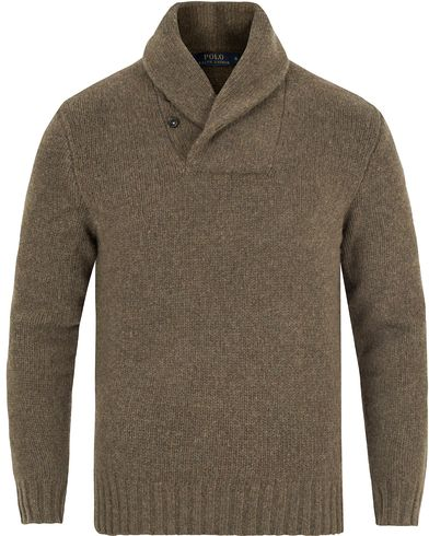 Polo Ralph Lauren Knitted Wool/Cashmere  Shawl Sweater Olive Melange i gruppen Gensere / Strikkede gensere hos Care of Carl (13344911r)