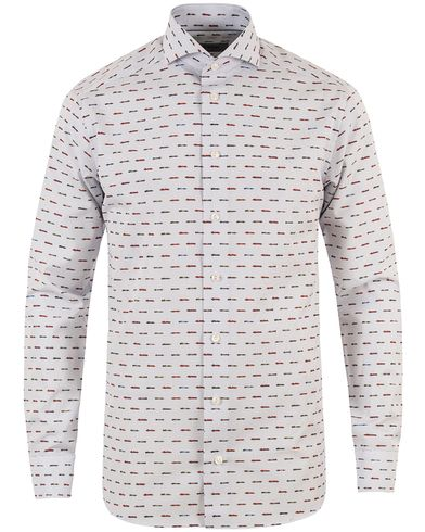 Eton Slim Fit Car Print Poplin Shirt White i gruppen Skjortor / Businesskjortor hos Care of Carl (13346111r)