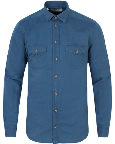 Eton Slim Fit Indigo Double Breast Pocket Dark Blue i gruppen Klær / Skjorter / Casual skjorter hos Care of Carl (13346611r)