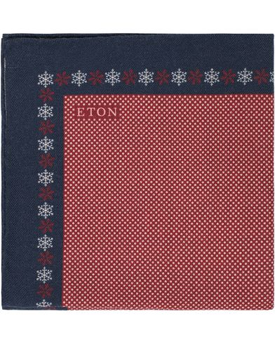 Eton Snow Flake Dot Wool Pocket Square Red  i gruppen Accessoarer / N�sdukar hos Care of Carl (13347210)