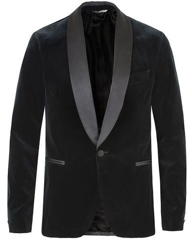 J.Lindeberg Savile Velvet Shawl Collar Tuxedo Dark Green i gruppen Kläder / Kavajer / Smokingkavajer hos Care of Carl (13448711r)