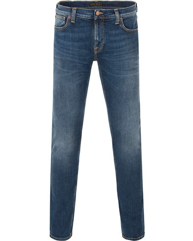 Nudie Jeans Long John Organic Slim Fit Stretch Jeans Tele Blue i gruppen Jeans / Smala Jeans hos Care of Carl (13451111r)