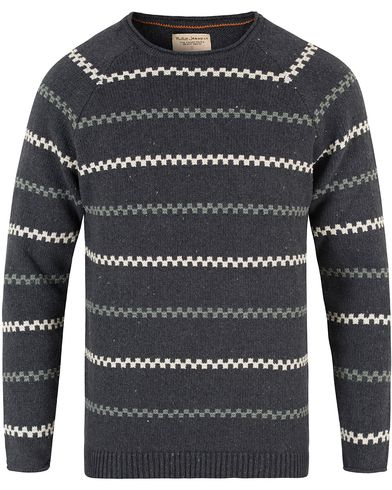 Nudie Jeans Vladimir Stiped  Knitted Crew Neck Antracite i gruppen Tröjor / Stickade tröjor hos Care of Carl (13452711r)