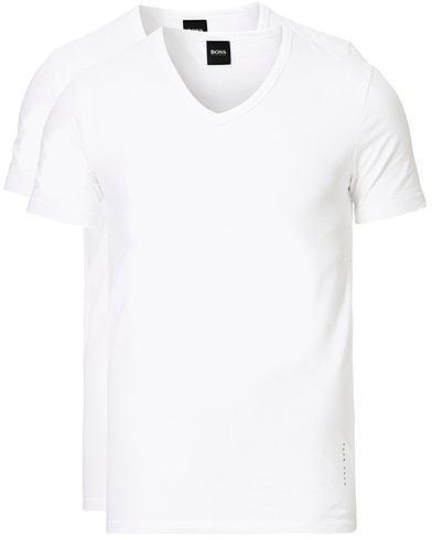 BOSS 2-Pack V-Neck Slim Fit Tee White i gruppen Tøj / T-Shirts / Kortærmede t-shirts hos Care of Carl (13453811r)