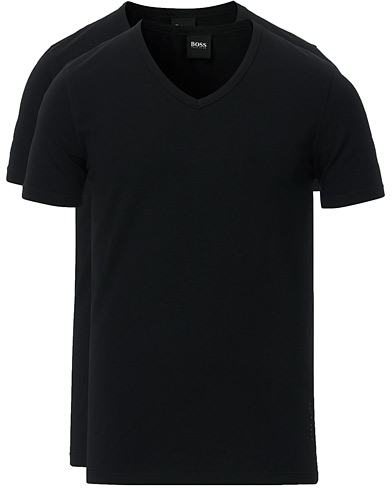 BOSS 2-Pack V-Neck Slim Fit Tee Black i gruppen Klær / T-Shirts / Kortermede t-shirts hos Care of Carl (13453911r)