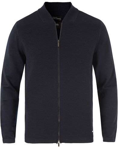 Boss Inat Stuctured Front Zip Jacket Dark Navy i gruppen Tröjor / Zip-tröjor hos Care of Carl (13456311r)
