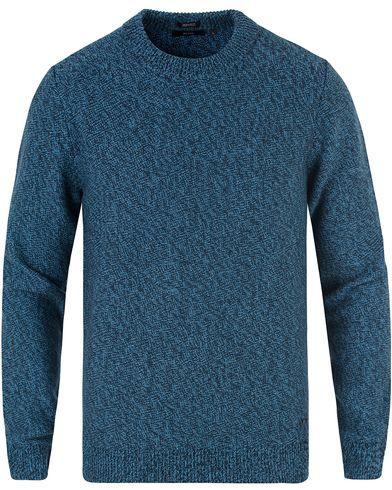 Boss Igus Structured Knitted Crew Neck Dark Navy Mouliné i gruppen Tröjor / Stickade tröjor hos Care of Carl (13456511r)