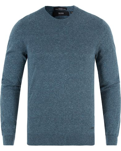 BOSS Ives Supima Cotton Crew Neck Poseidon Mouliné i gruppen Kläder / Tröjor / Pullovers / Rundhalsade pullovers hos Care of Carl (13456611r)