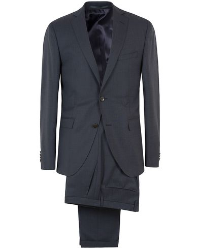 Boss Reyno/Wave Windowpane Super 120 Wool Suit Dark Blue i gruppen Kostymer hos Care of Carl (13457311r)